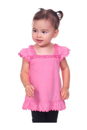 Infants Sheer Jersey Ruffle U Neck Flutter Sleeve Top