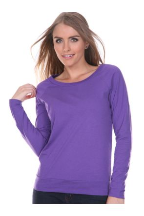 Juniors Sheer Jersey Scoop Neck Raglan Long Sleeve