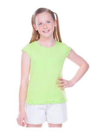 Big Girls 7-16 Lettuce Edge Scoop Neck Cap Sleeve Top