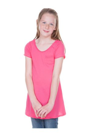 Big Girls 7-16 Sheer Jersey Double Raw Edge Scoop Neck Penny Pocket Short Sleeve