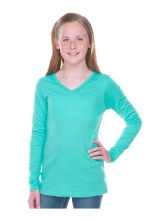 Big Girls 7-16  Sheer Jersey V Neck Long Sleeve