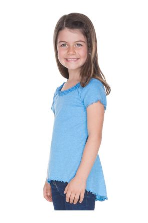 Little Girls 3-6X Lettuce Edge Ruffles High Low Short Sleeve Top