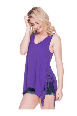 Juniors Sheer Jersey Asymmetrical Side Fringe Tank