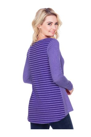 Juniors Contrast Mini Striped Back High Low Long Sleeves