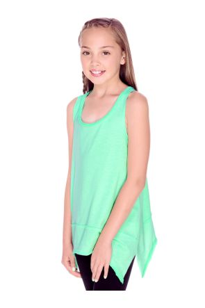 Girls 7-16 Sheer Jersey Scoop Neck Raw Edge Shark Bite Tank
