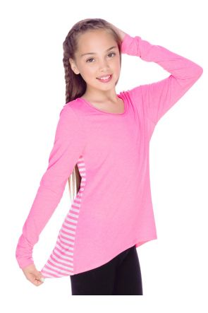 Girls 7-16 Contrast Mini Striped Back High Low Long Sleeves