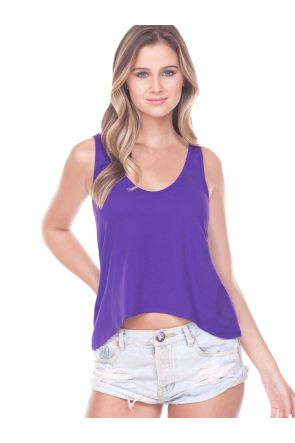 Junior Sheer Jersey Scoop Neck Asymmetrical Crop Tank
