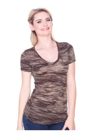 Junior Camouflage Striped Burnout Twisted V Neck Short Sleeve