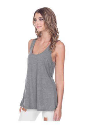 Junior Sheer Jersey Scoop Neck Flowy Tank