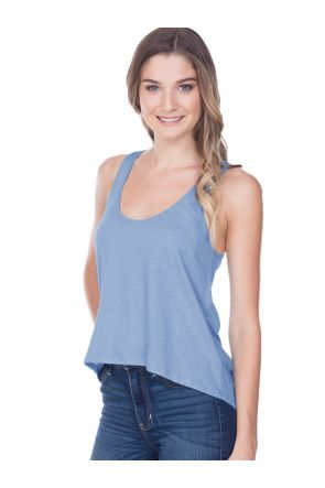 Junior Sheer Jersey Scoop Neck High Low Tank