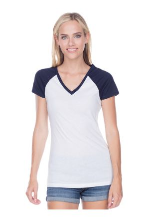 Junior Sheer Jersey Contrast V Neck Raglan Short Sleeve