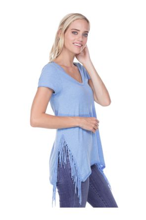 Juniors Sheer Jersey V Neck Side Fringe Asymmetrical Short Sleeve