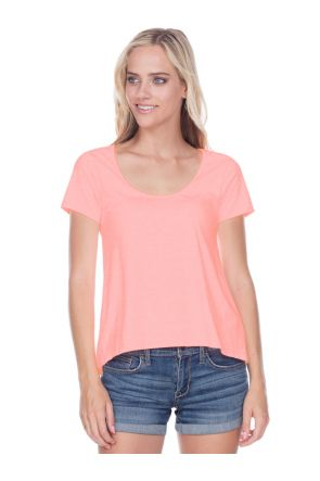 Juniors Jersey Scoop Neck High Low Short Sleeve