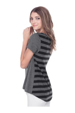Juniors Striped Jersey Contrast Back High Low Short Sleeve
