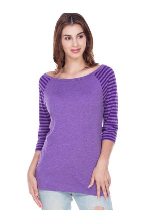 Women Striped Jersey Contrast Raglan 3/4 Sleeve