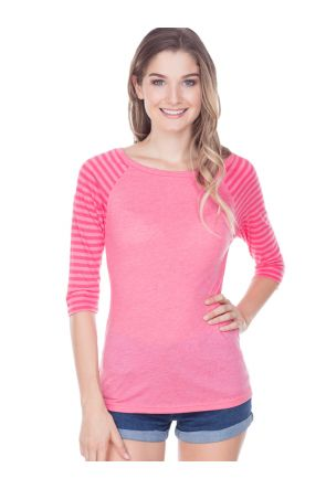 Juniors Striped Jersey Contrast Raglan 3/4 Sleeve