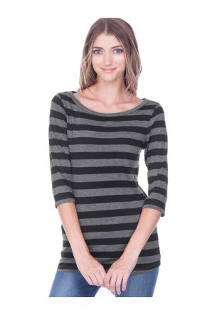 Juniors Striped Jersey Boat Neck 3/4 Sleeve