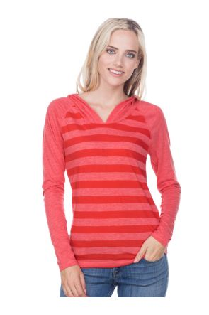 Juniors Striped Jersey Raglan Long Sleeve Hoodie