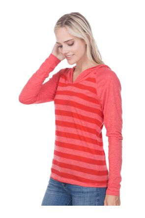 Juniors 2XL Striped Jersey Raglan Long Sleeve Hoodie