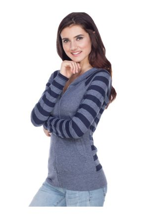Juniors  Striped Jersey Contrast Raglan Long Sleeve Zip Hoodie.