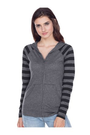 Juniors 2XL  Striped Jersey Contrast Raglan Long Sleeve Zip Hoodie.