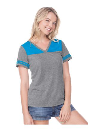 Women Jersey V Neck Football Tee