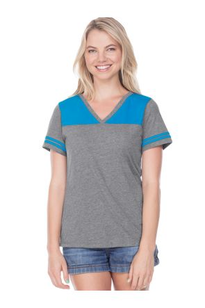Women 2XL Jersey V Neck Football Tee
