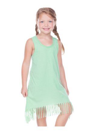 Girls 3-6X  Sheer Jersey Raw Edge Fringe Asymmetrical Tank Dress