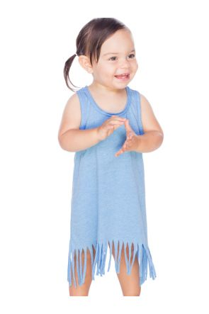 Infants Sheer Jersey Raw Edge Fringe Asymmetrical Tank Dress