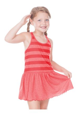 Little Girls 3-6X Striped Jersey Scoop Neck Racer Back Tank Dress
