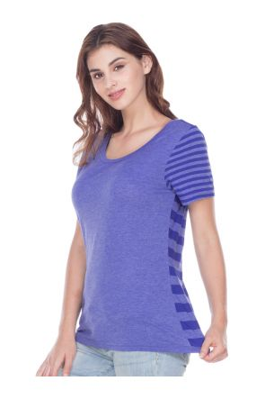 Women Striped Jersey Multi Contrast Short Sleeve
