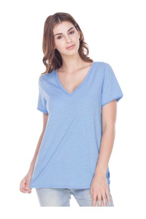 Women Sheer Jersey Raw Edge V Neck Curved Hem Short Sleeve