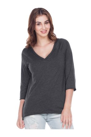 Women Sheer Jersey Raw Edge V Neck Raglan 3/4 Sleeve High_Low