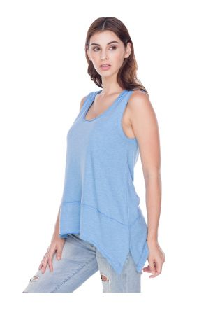 Women Sheer Jersey Scoop Neck Raw Edge Shark Bite Tank