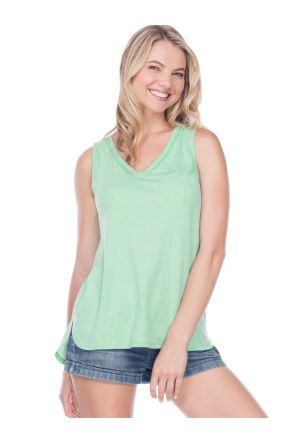 Women Sheer Jersey Raw Edge V Neck Curved Hem Tank