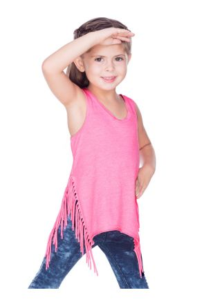 Girls 3-6X Sheer Jersey Asymmetrical Side Fringe Tank