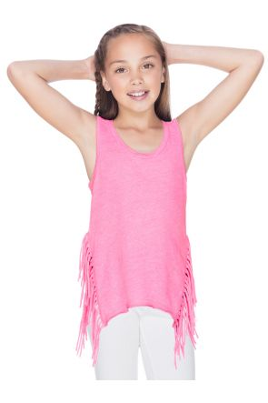 Girls 7-16 Sheer Jersey Asymmetrical Side Fringe Tank