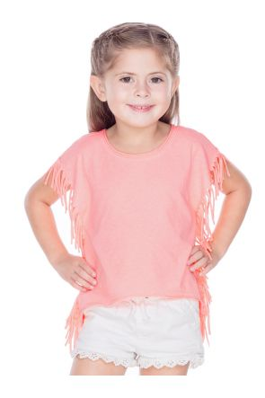 Girls 3-6X Sheer Jersey Raw Edge Side Fringe Asymmetrical Cap Sleeve CropTop