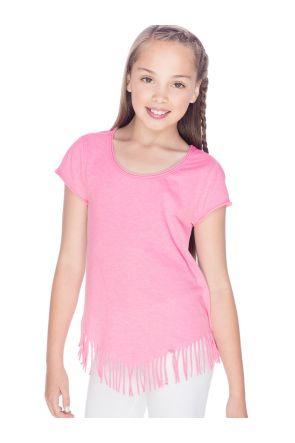 Girls 7-16 Sheer Jersey Raw Edge V Fring Short Sleeve