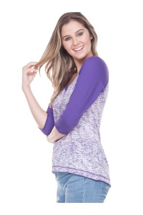 Juniors Static Jersey Print Cntrst V Neck Raw Edge Raglan High Low 3/4 Sleeve