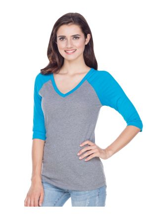 Junior Sheer Jersey Contrast V Neck Raglan 3/4 Sleeve