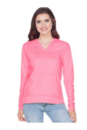 Juniors Sheer Jersey Raw Edge High Low Long Sleeve Hoodie with Pouch