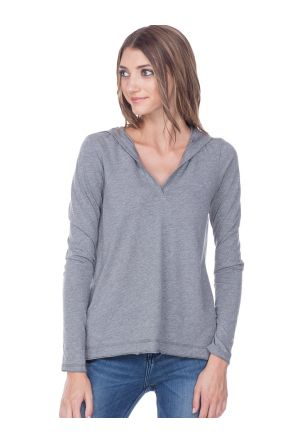 Juniors Sheer Jersey V-Neck High-Low Long Sleeve Hoodie