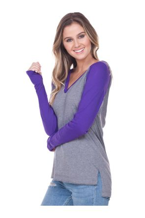 Juniors Jersey V-Neck Raglan High-Low Long Sleeve Hoodie