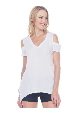 Juniors Sheer Jersey Raw Edge V Neck Cold Shoulder Short Sleeves