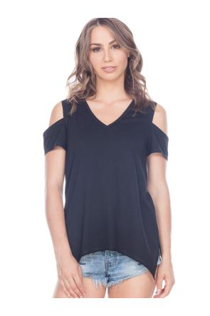 Women Sheer Jersey Raw Edge V Neck Cold Shoulder Short Sleeves