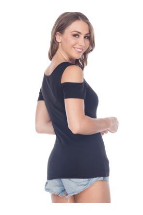 Women 2XL Scoop Neck Cold Shoulder Short Sleeves in 2X1 Rib