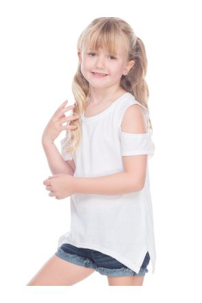 Girls 3-6X Sheer Jersey Raw Edge Scoop Neck Cold Shoulder Short Sleeves