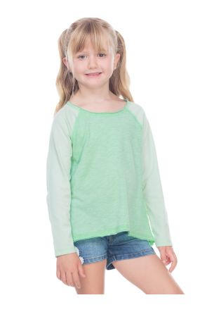 Girls 3-6X Slub Jersey Raw Edge High Low Contrast Raglan Long Sleeve