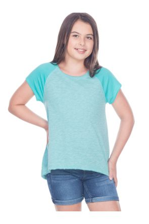Girls 7-16 Slub Jersey Raw Edge High Low Contrast Raglan Short Sleeve